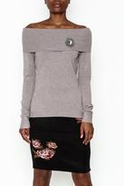 LOLA Cosmetics Pin Detail Shoulder Sweater