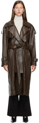 Low Classic Brown Faux-Leather Trench Coat
