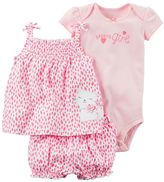 "Carter's Baby Girl Daddy's Girl"" Bodysuit, Splatter Cat Tank Top & Bubble Shorts Set"