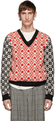 Gucci Red and Black Wool Jacquard V-Neck Sweater