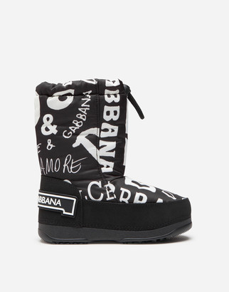 Dolce & Gabbana Nylon Snow Boots With Logo Print