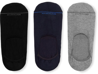 Marcoliani Milano Three-Pack Stretch Cotton-Blend No-Show Socks