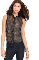 6 Degrees Juniors Top, Sleeveless Semi-Sheer Button-Down