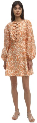 Zimmermann Printed Linen Mini Dress W/Bows