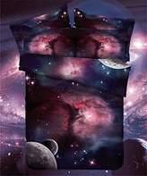LELVA Galaxy Bedding Set Galaxy Duvet Cover Set Kids Bedding for Boys and Girls Teens Bedding Full Queen Size (3, Twin)