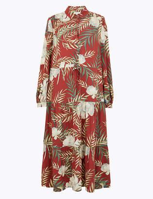 Marks and Spencer Tropical Print Shirt Midi Dress