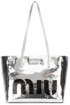 Miu Miu Sequin Logo Zip Tote Bag