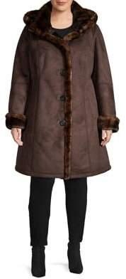 Gallery Plus Hooded Faux Suede & Faux Fur A-Line Coat