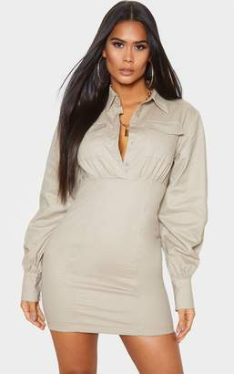 PrettyLittleThing Black Pocket Front Long Sleeve Bodycon Shirt Dress