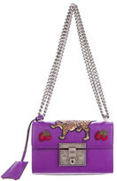 Gucci 2016 Embroidered Small Padlock Shoulder Bag