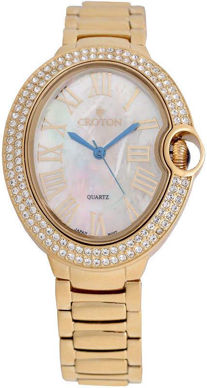 Croton Womens Gold Tone Bracelet Watch-Cn207566ylmp