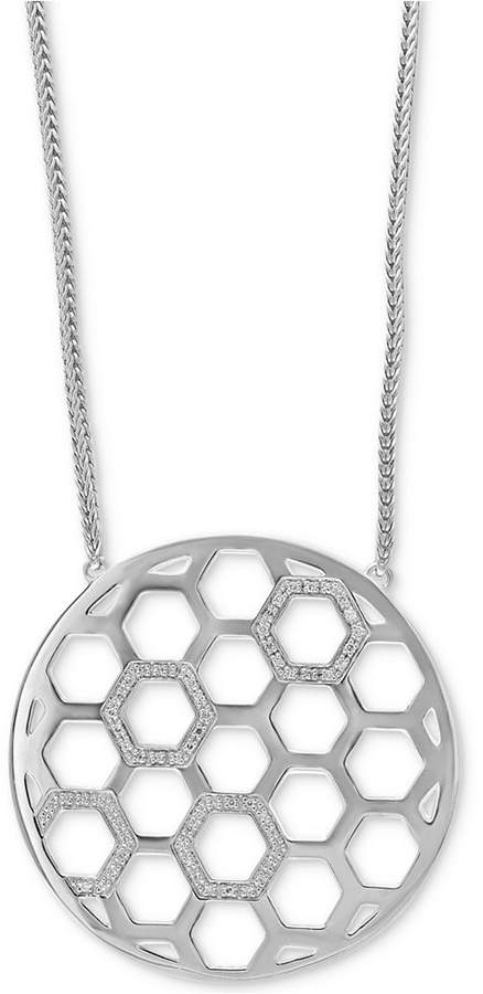 Effy Diamond Honeycomb Circle Pendant Necklace (1/4 ct. t.w.) in Sterling Silver