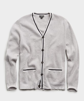 Todd Snyder Cotton Cashmere Waffle Stitch Tipped Cardigan in Grey