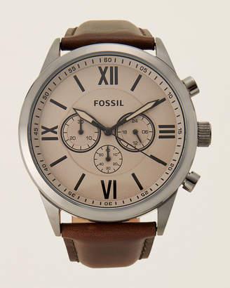 Fossil BQ2131 Rhodium-Tone & Brown Watch