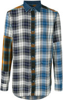 Diesel plaid patchwork shirt