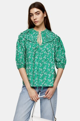 Topshop Womens Petite Green Floral Puff Sleeve Blouse - Green
