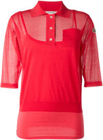 Moncler semi-sheer knitted polo shirt - women - Cotton/Polyamide/Spandex/Elastane/Viscose - S