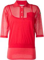 Moncler semi-sheer knitted polo shirt - women - Cotton/Polyamide/Viscose/Spandex/Elastane - S