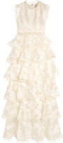Zimmermann Winsome Lace-trimmed Tieredembroidered Silk Maxi Dress - Ivory