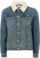 Topman Blue Borg Denim Jacket