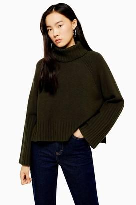 Topshop Khaki Knitted Super Soft Crop Roll Neck Jumper