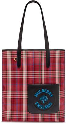 Mulberry Tartan Check Canvas Tote Embroidery Scarlet London Tartan Check