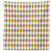 vipsung Floral Tablecloth Cute Tulips Pattern inside Geometric Rhombus Diamonds and Hearts Artsy Print Dining Room Kitchen Rectangular Table Cover Pink Khaki Blue