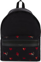 Saint Laurent City heart and flower print backpack