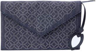 Alaia Oum Studded Denim Envelope Clutch Bag