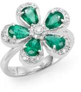 Effy Final Call Diamond, Emerald & 14K White Gold Flower Ring