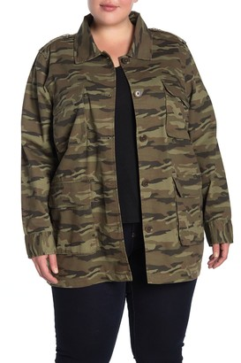 Caslon Camouflage Print Army Jacket (Plus Size)