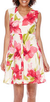 Tiana B Studio 1 Sleeveless Floral V-Neck Fit-and-Flare Dress