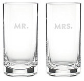 Kate Spade Darling Point Mr. & Mrs. Crystal Highball Glass Pair