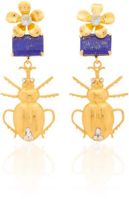 Bounkit 14K Gold-Plated, Quartz and Lapis Lazuli Beetle Earrings
