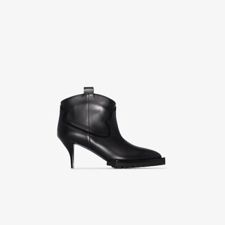 Sacai Black 70 Leather Ankle Boots