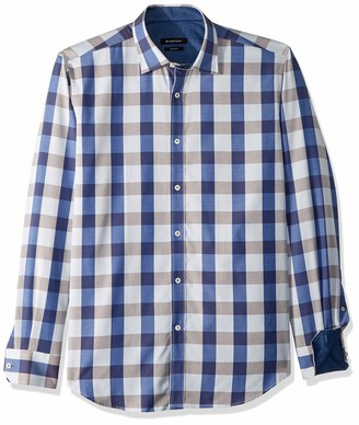 Bugatchi Men's Dotted Dobby Checks Shaped Fit Point Collar Shirts