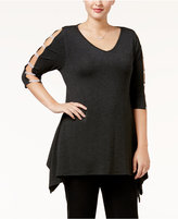 Belldini Plus Size Embellished Handkerchief-Hem Tunic