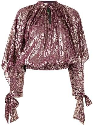 Romance Was Born floral metallic blouse