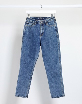 Hollister mom jeans in marbled denim
