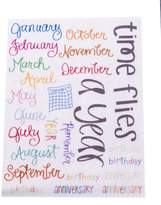 Wilson JUNKITZ Expressionz Janna Months Theme Rub-ons 1 Sheet NEW