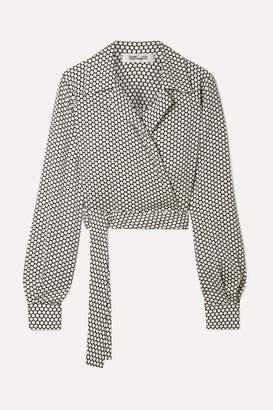 Diane von Furstenberg Cropped Printed Stretch-silk Wrap Top - Off-white