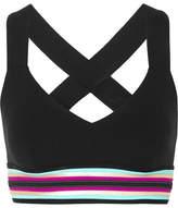 NO KA 'OI No Ka'Oi Ola Striped Stretch Sports Bra - Black