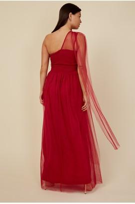 Little Mistress Bridesmaid Karter Red Bow Detail One-Shoulder Maxi Dress
