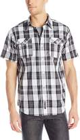 Southpole Men's Plaid Woven Short Sleeve Shirt with Plaid Patterns