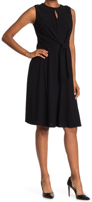 London Times Keyhole Tie Front Midi Dress