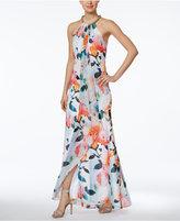 Calvin Klein Draped Floral-Print Halter Gown