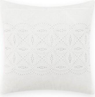Laura Ashley Annabella Cotton Throw Pillow Size: 16'' H x 16'' W x 1'' D, Color: White