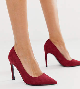 Asos Design DESIGN Wide Fit Porto pointed high heeled court shoes in burgundy-Red