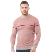 Ted Baker Mens Britnay Stripe Crew Neck Knitted Jumper Pink