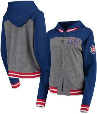 New Era Women's Gray/Royal Chicago Cubs French Terry Full-Zip Hoodie